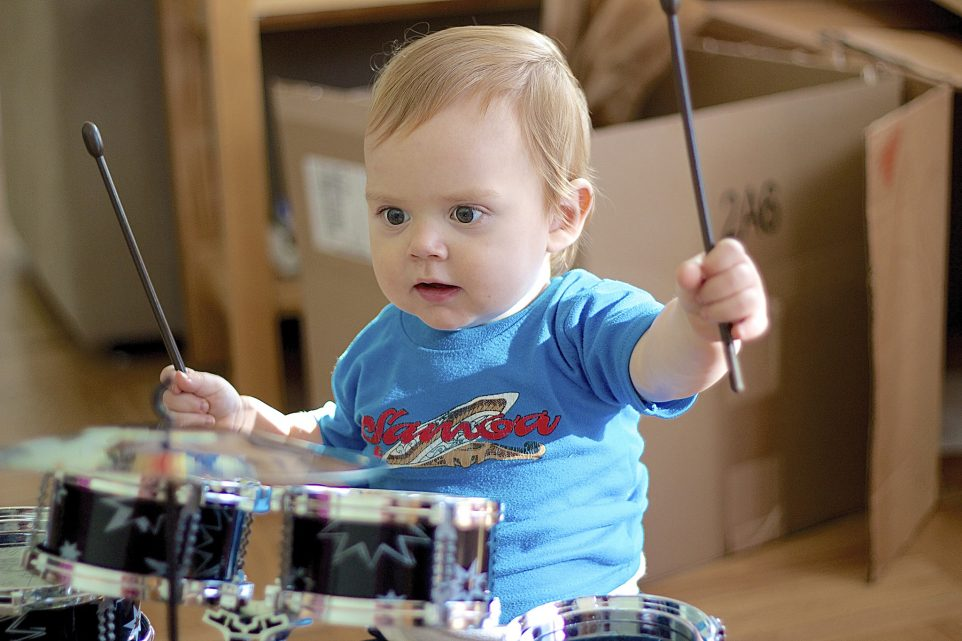 Blaise playing drums